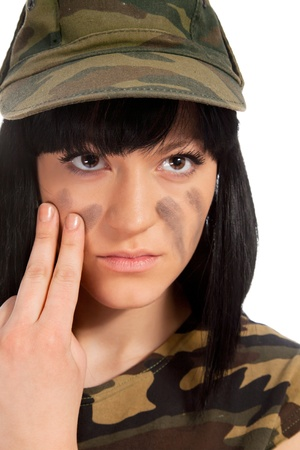 Portrait of beautiful army girl isolated background photo