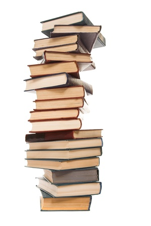 old books: Stapel der alten B�cher, isoliert auf weiss