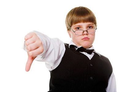 young businessman giving thumb down isolated on white photo