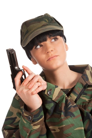 beautiful army girl holding gun isolated background photo