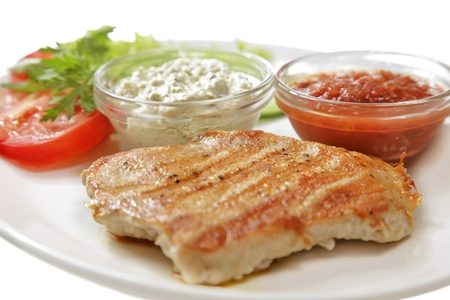 grilled meat isolated on the white background 스톡 콘텐츠