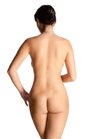 mujer desnuda de espalda: Retrato de mujer hermosa de pie de fondo de nuevo aislados