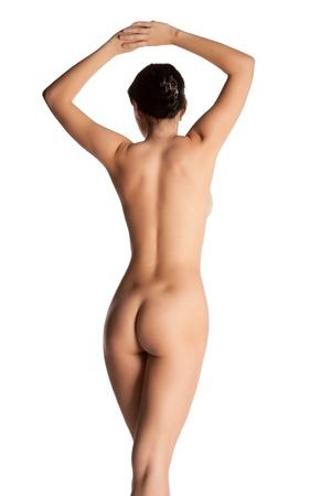 mujer desnuda de espalda: de pie hermosa mujer de fondo de nuevo aislados Foto de archivo