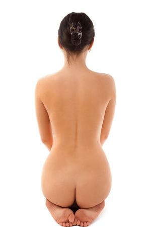mujer desnuda: Hermosa mujer desnuda sentada en el suelo Foto de archivo