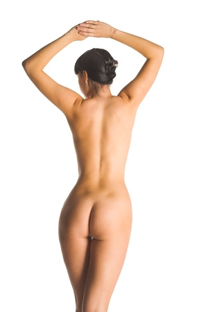 mujer desnuda de espalda: hermosa mujer de pie de fondo de nuevo aislados