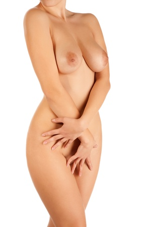 nude woman standing: Portrait of beautiful  woman isolated background