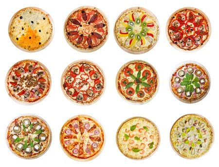 twelve different pizzas put in one set Stock Photo