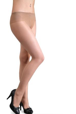 팬티 스타킹: 흰색 배경에 고립 된 아름 다운 여자 다리 스톡 사진