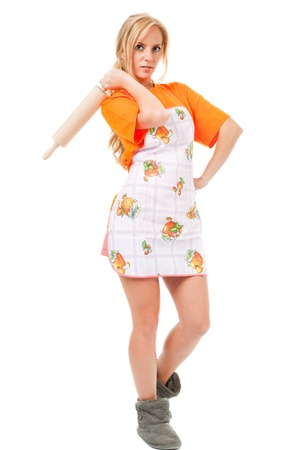 housewife with a rolling pin on white background  photo