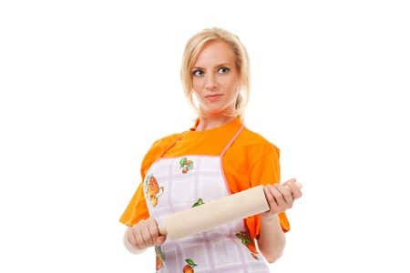 housewife with a rolling pin on white background Stock Photo - 12763921
