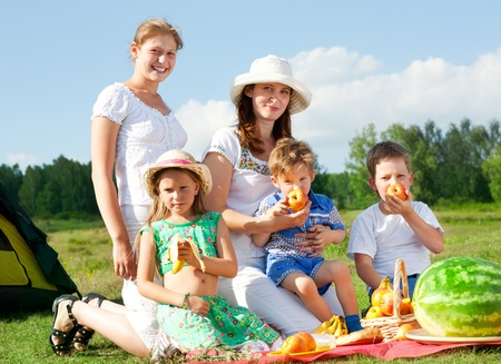 happy family have a picnic outdoor Stock Photo - 13382040