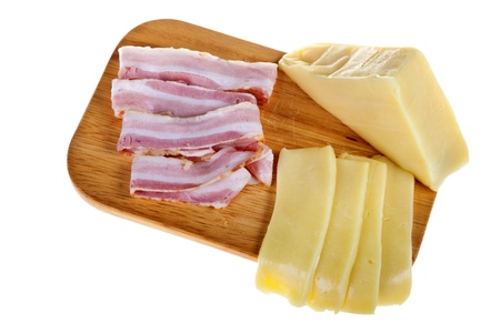 cheese and pork isolated on white photo