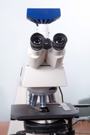 optic microscope in the reseach laboratory photo