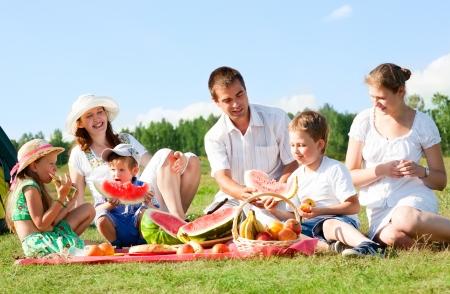 familia picnic: familia feliz tiene un pic-nic al aire libre
