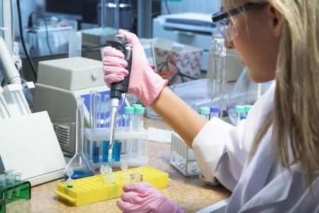 beautiful woman working in modern laboratory photo