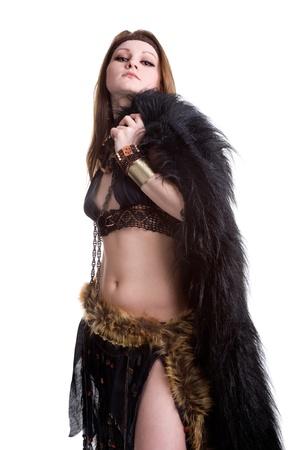 female shaman: Portrait of shaman woman in studio