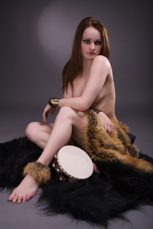 Portrait of shaman woman in studio photo
