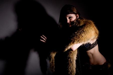 Portrait of shaman woman in studio photo