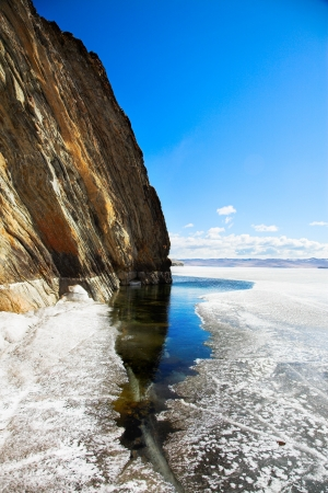 cliffs at frozen baikal lake in winter  photo