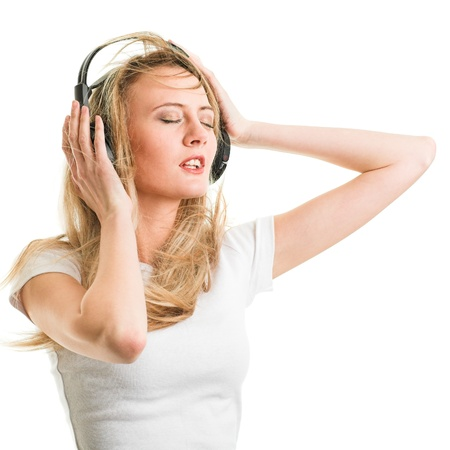 Beauty woman listening music in headphone photo