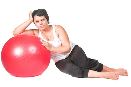 fat woman with big red ball photo