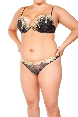 knickers: fat woman isolated on white Stock Photo