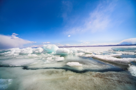 frozen baikal lake in winter photo