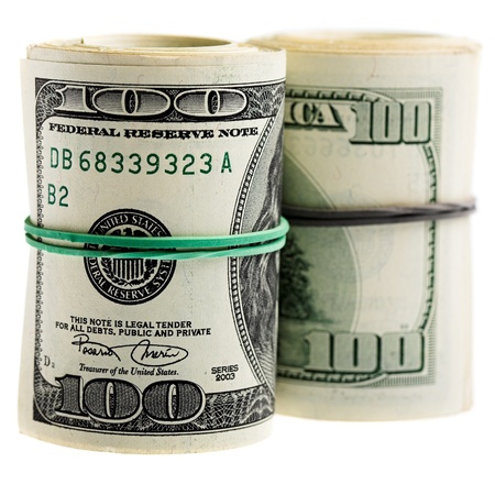 Roll of dollars isolated on white background  photo