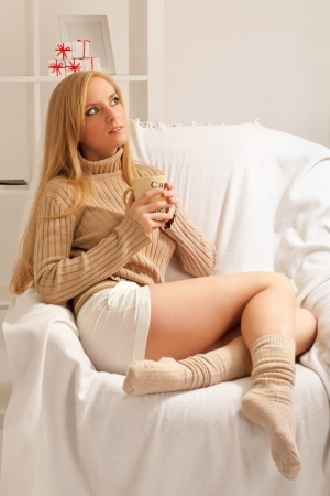 beauty girl with cofee cup photo