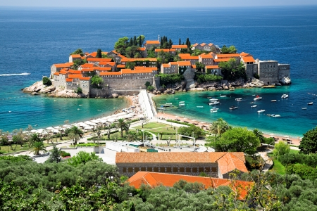 Sveti Stefan, small islet and resort in Montenegro. Stock Photo