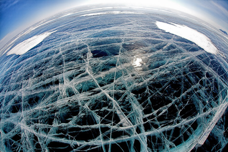 ice surface: Ice surface on winter baikal. Wide-angle shot
