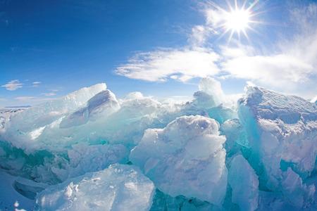 hummock: ice hummock at frozen baikal lake in winter