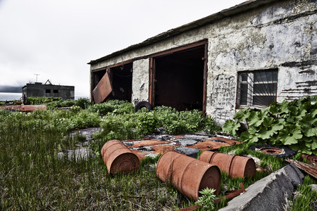 Kuril, Simushir Island. Ghost-town Kraternyi. The abandoned military base of the Soviet Navy Stock Photo