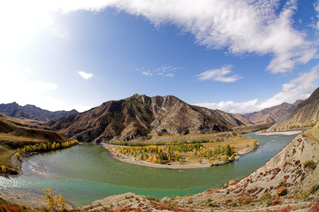 The confluence of the Chuya and Katun rivers, famous travel destination in Altai, Siberia, Russia. Autumn landscape