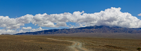 Panorama of  Mongolian landscape with road and mountains