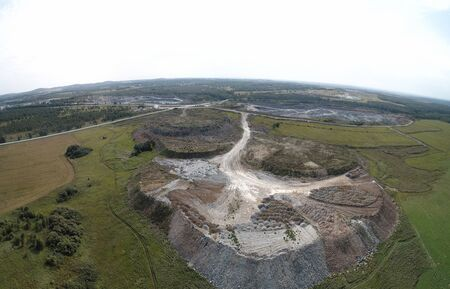 Aerial panorama of the crushed stone industrial zone