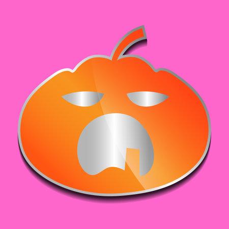 yawning orange pumpkin sticker on a colored background.