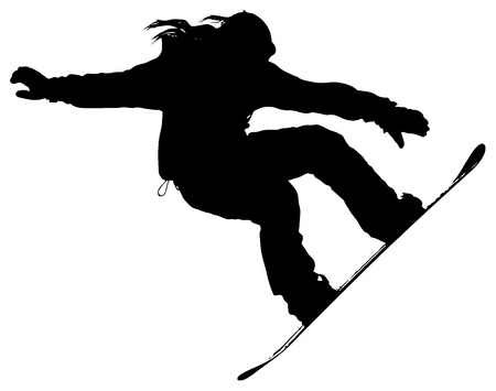 gimmick: snowboarder silhouette on a white background