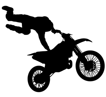 silhouette of a freestyle motocross rider on white background photo