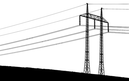 powerline: silhouette of a transmission tower with wires