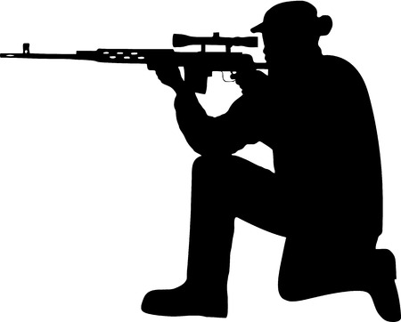 gun silhouette: silhouette of a soldier with a gun Illustration