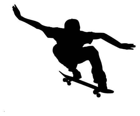 skateboard: silhouette of a skateboarder on white background