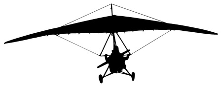 paragliding: hang-glider silhouette on a white background