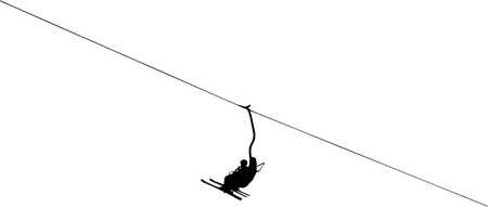 chairlift: silhouette of a ski lift Illustration