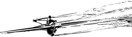 silhouet van een skiff Stock Illustratie