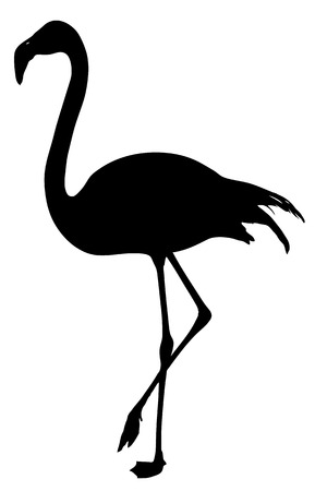 flamingo silhouette on a white background Ilustracja