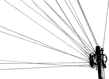cable telefono: la ilustración de la columna con alambres