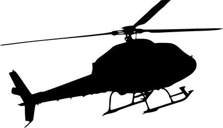 白い背景の上のヘリコプターのシルエット