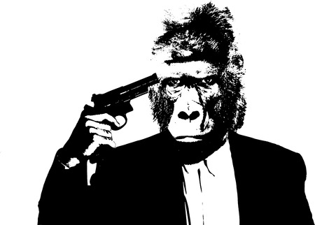 head pain: Suicide man with gorilla head on white background, illustration