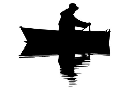 alone man: silhouette of fisherman on boat